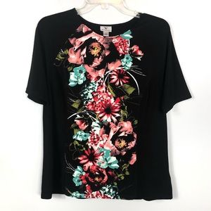 Worthington Floral Black Shirt Size L